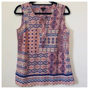 TALBOT'S Sleeveless Pink Blue Aztec Top Size Small